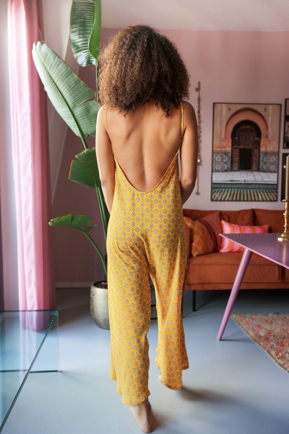 Yellow flowered jumpsuit