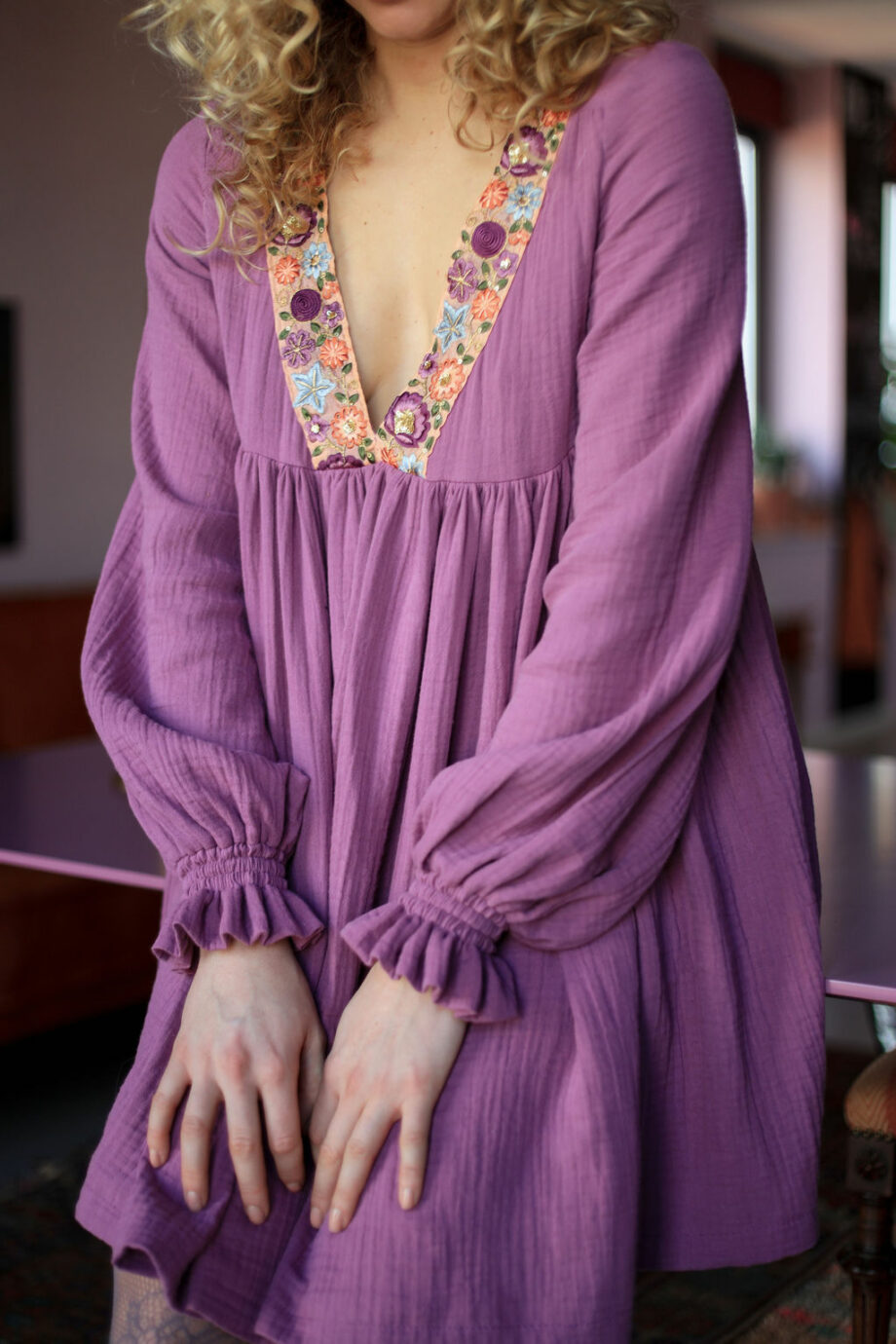 lilac dress with flower band
