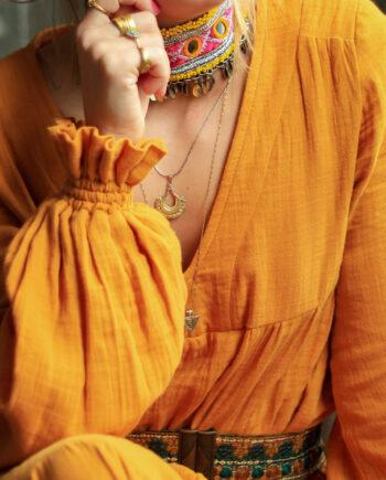 choker pink yellow beads