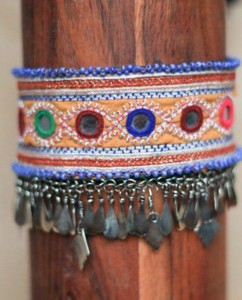 choker orange blue beads