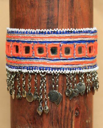 choker orange white beads