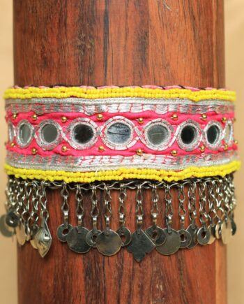 choker yellow beads pink silver