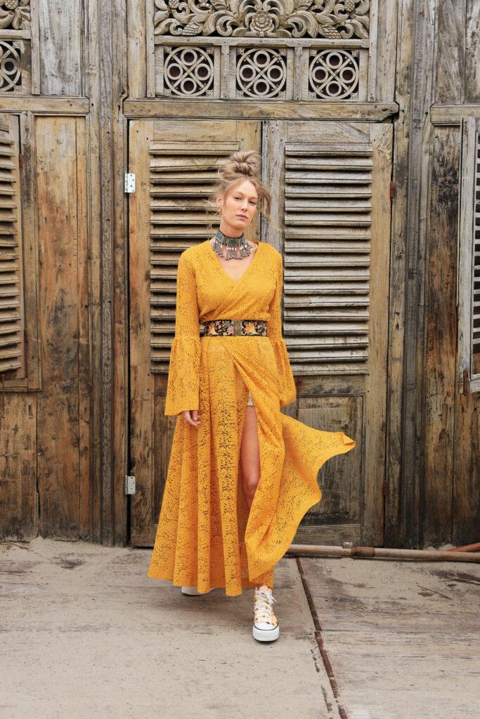 Kimono wrap dress yellow